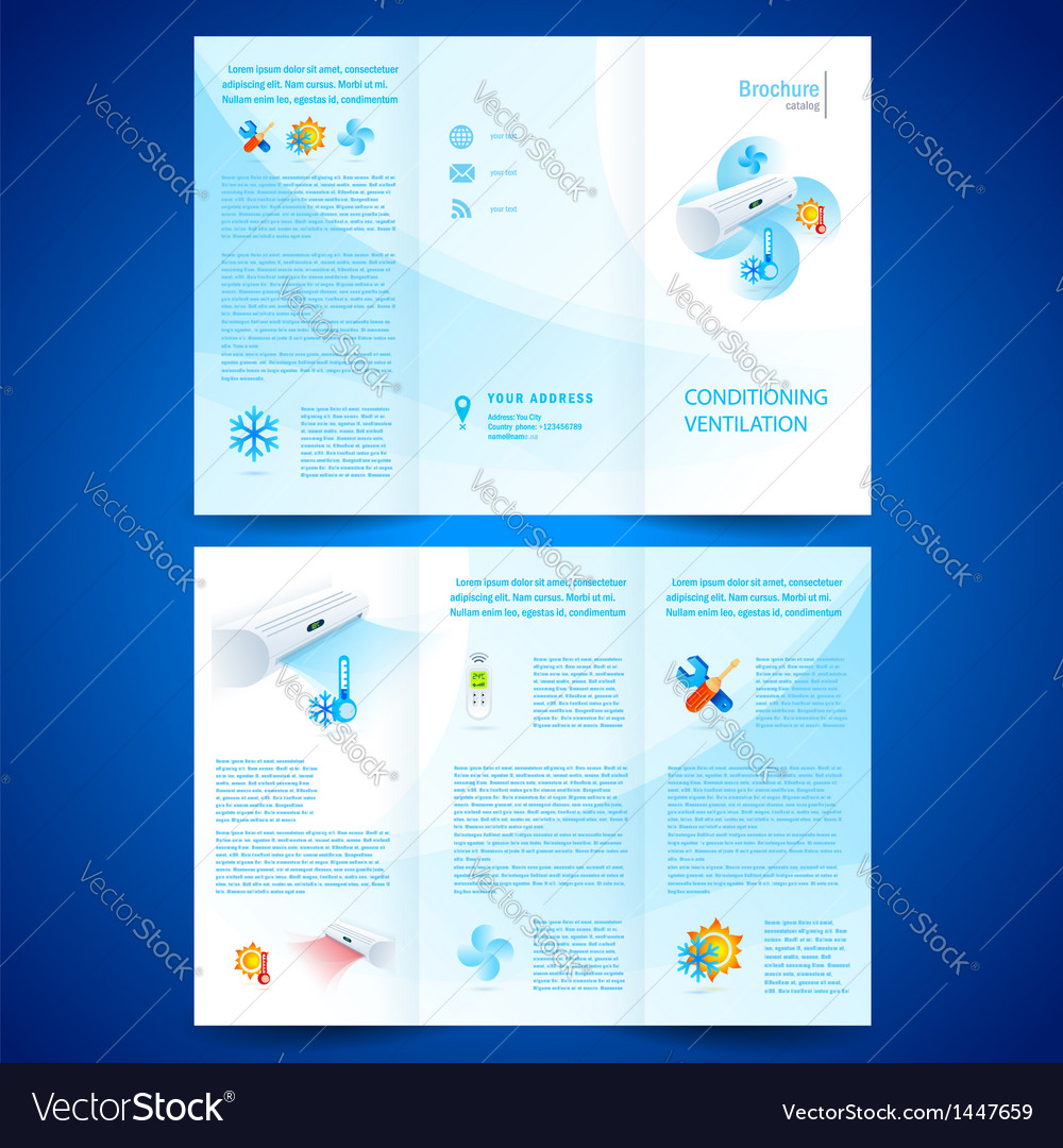 Brochure folder leaflet air conditioner vector | Price: 1 Credit (USD $1)
