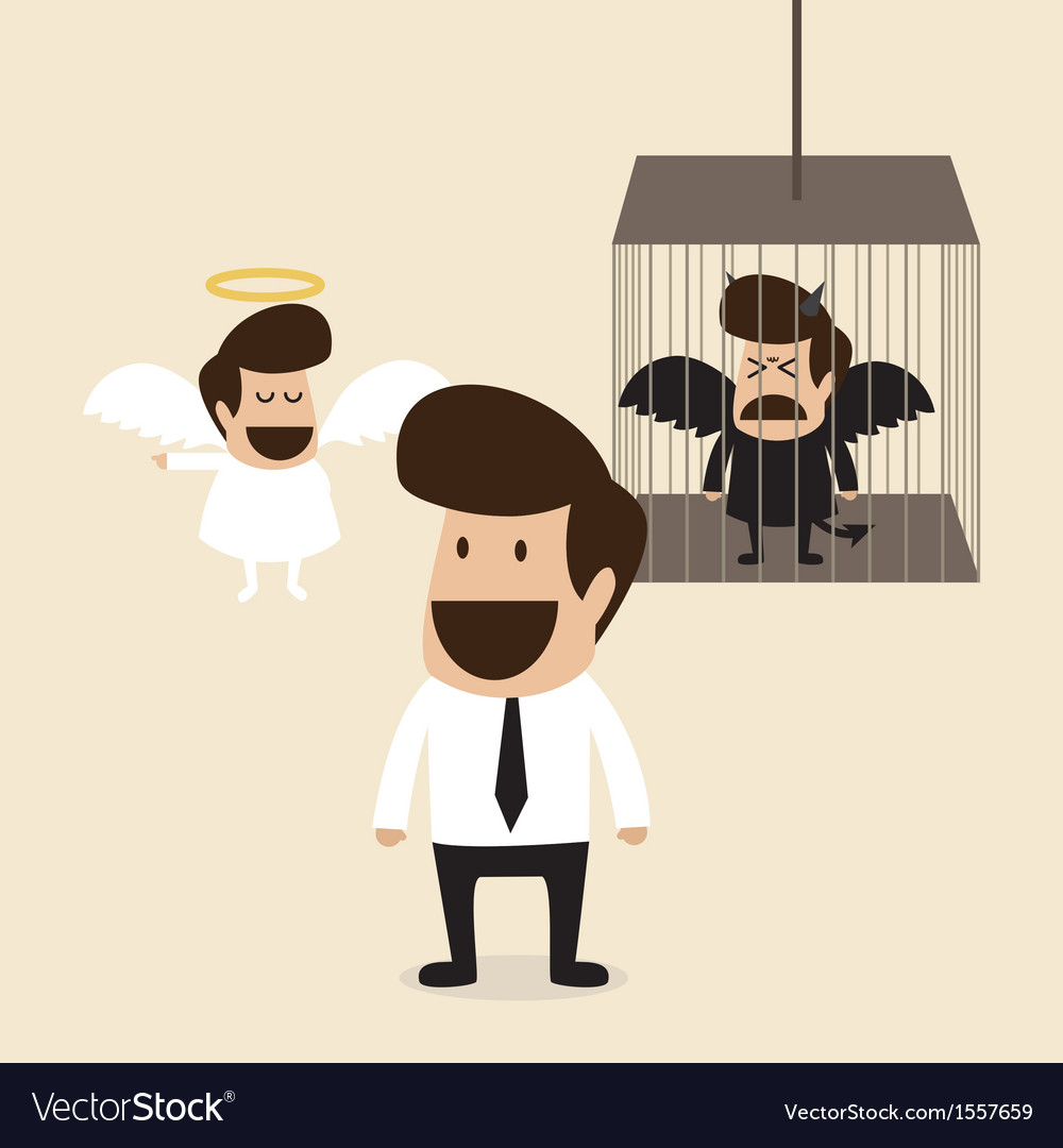 Businessman decide to belive angel mind vector | Price: 1 Credit (USD $1)