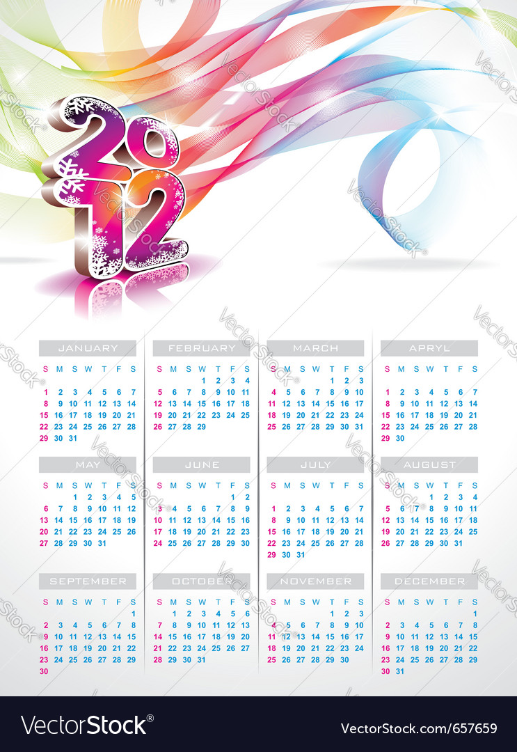 Calendar design 2012 on blue background vector | Price: 3 Credit (USD $3)