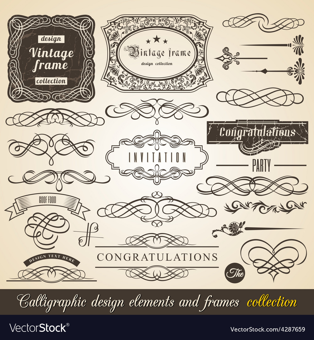 Calligraphic element border vector | Price: 1 Credit (USD $1)