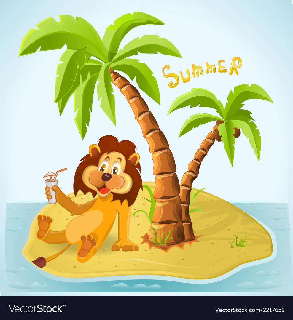 Cartoon lion resting on the island in the summer vector | Price: 1 Credit (USD $1)
