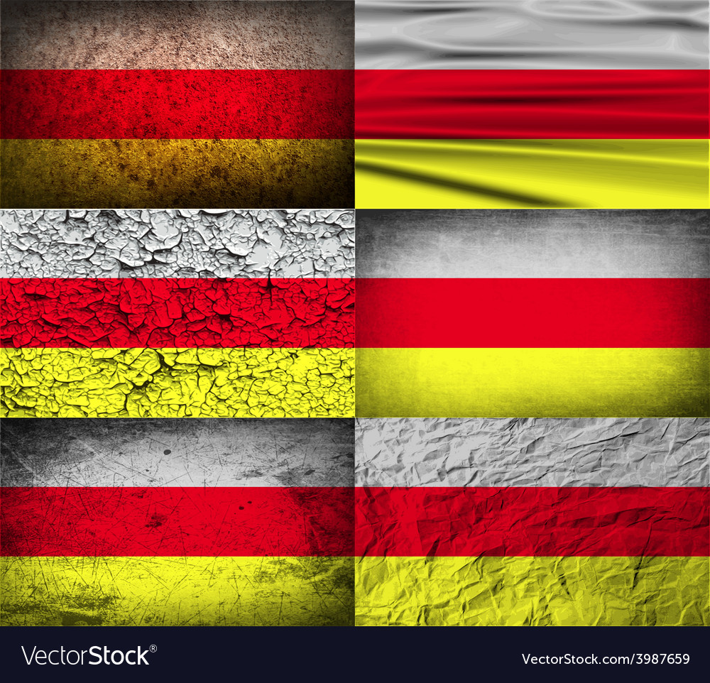 Flag of north ossetia with old texture vector | Price: 1 Credit (USD $1)