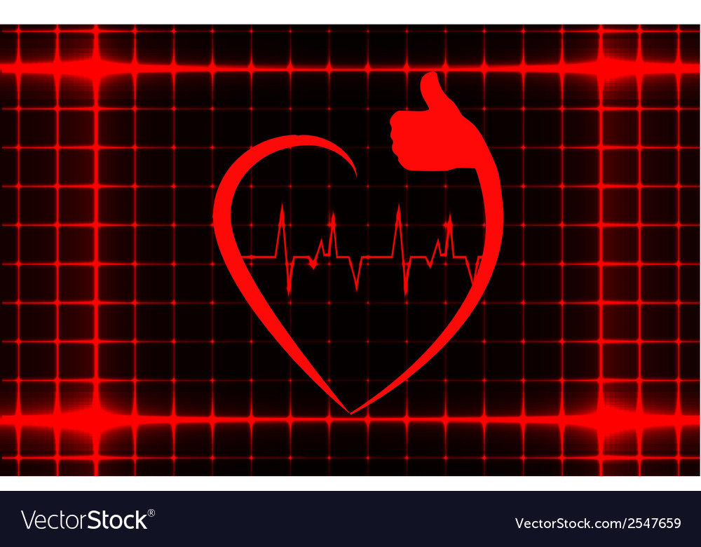 Healthy heart sign with ecg on a cover template vector | Price: 1 Credit (USD $1)