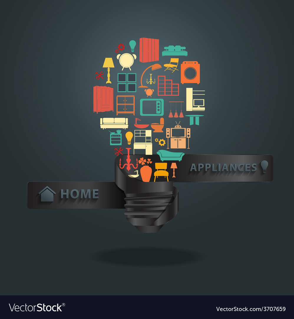 Home appliances icons with creative light bulb ide vector   Price: 1 Credit (USD $1)