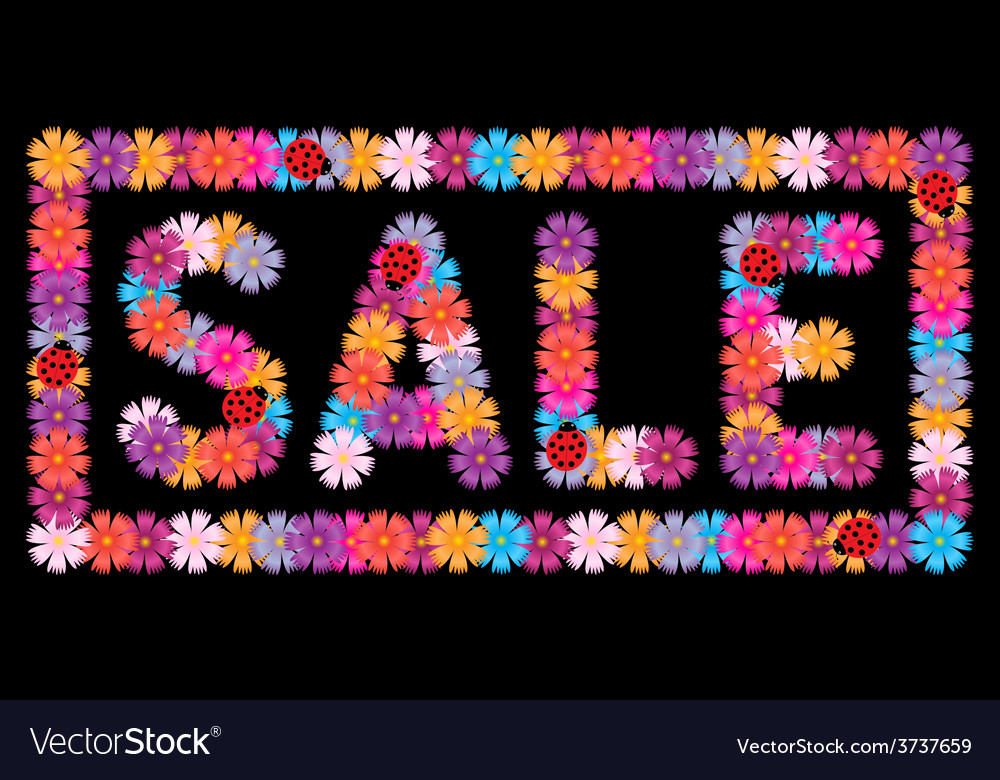 Inscription sale of flowers and ladybirds vector | Price: 1 Credit (USD $1)