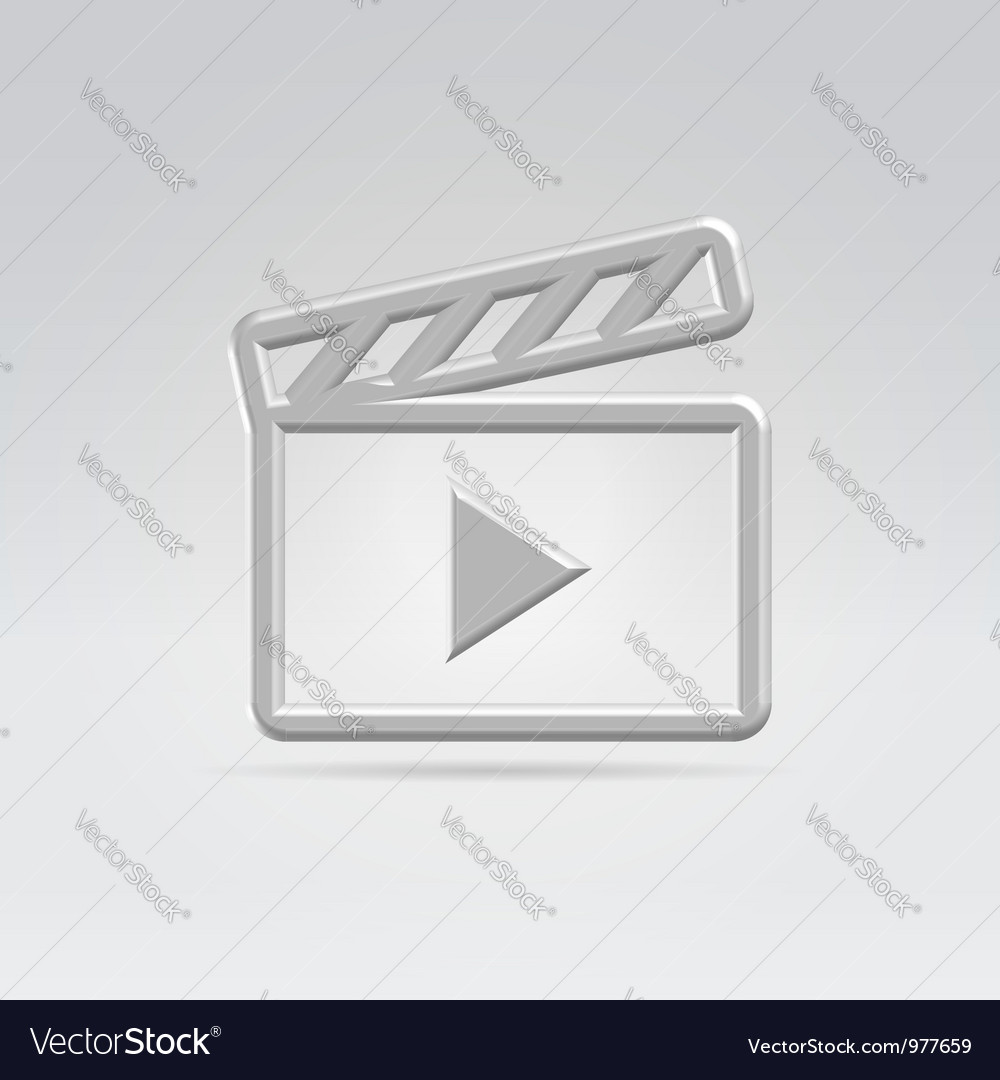 Silver video icon vector | Price: 1 Credit (USD $1)