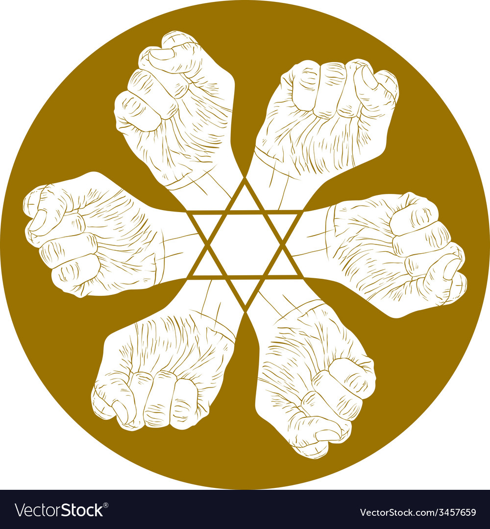 Six fists abstract symbol with hexagonal star vector | Price: 1 Credit (USD $1)