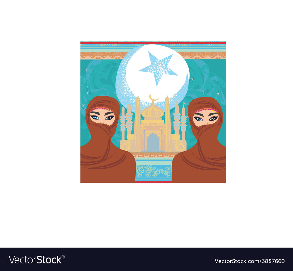 Beautiful muslim women on mosque background vector | Price: 1 Credit (USD $1)