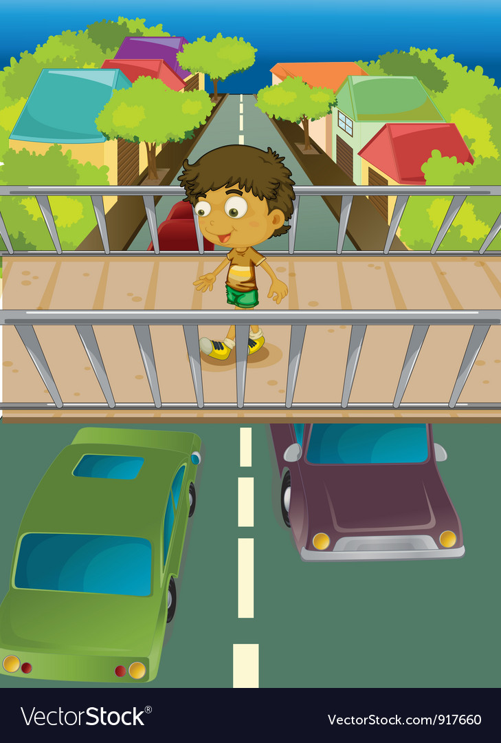Boy on overpass vector | Price: 3 Credit (USD $3)