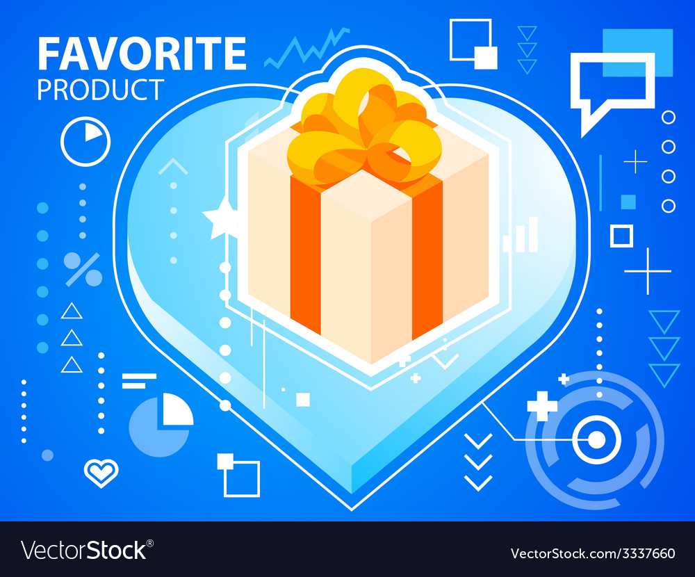 Bright heart and gift box with bow on blue b vector | Price: 3 Credit (USD $3)