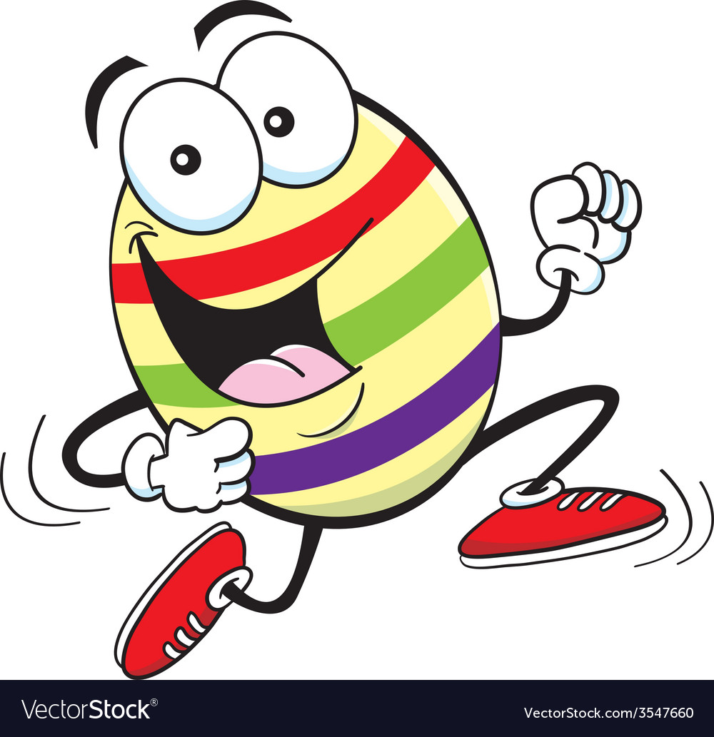 Cartoon easter egg running vector | Price: 1 Credit (USD $1)