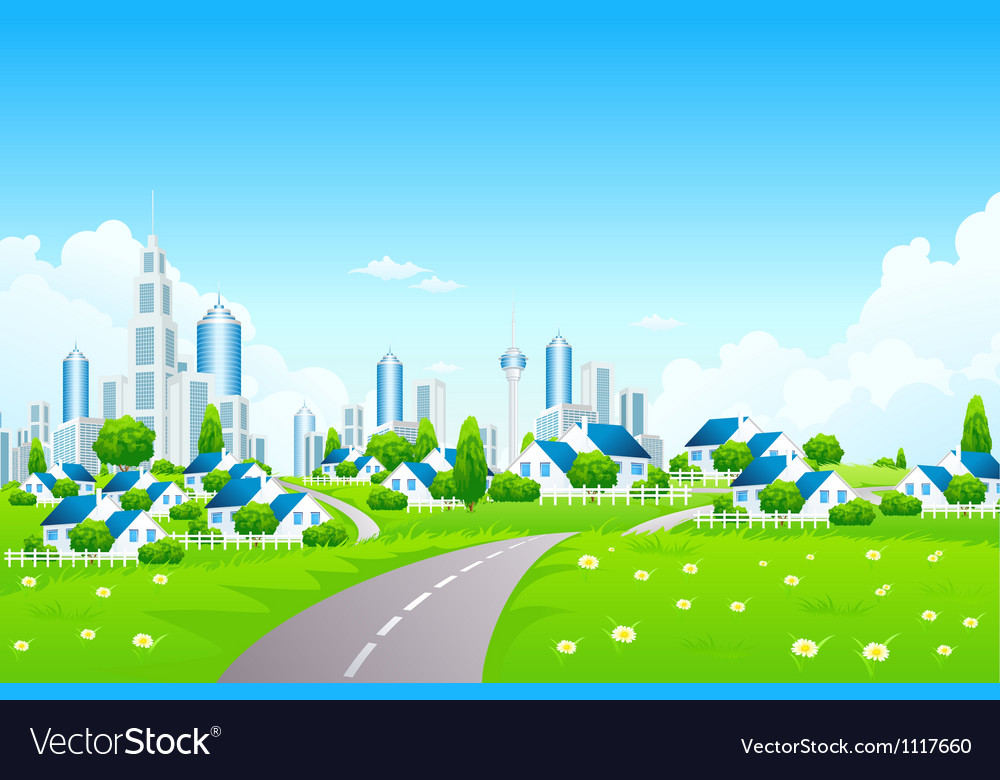 Green landscape with city and small village vector | Price: 3 Credit (USD $3)
