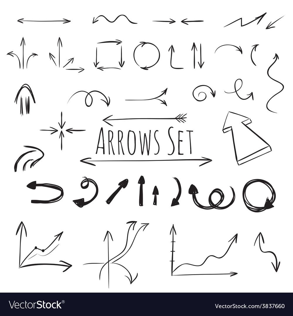Hand drawn arrows set vector   Price: 1 Credit (USD $1)