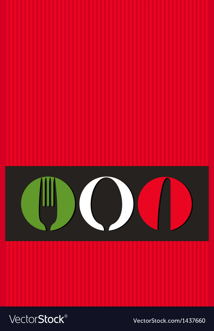 Italian menu design with cutlery symbols vector | Price: 1 Credit (USD $1)