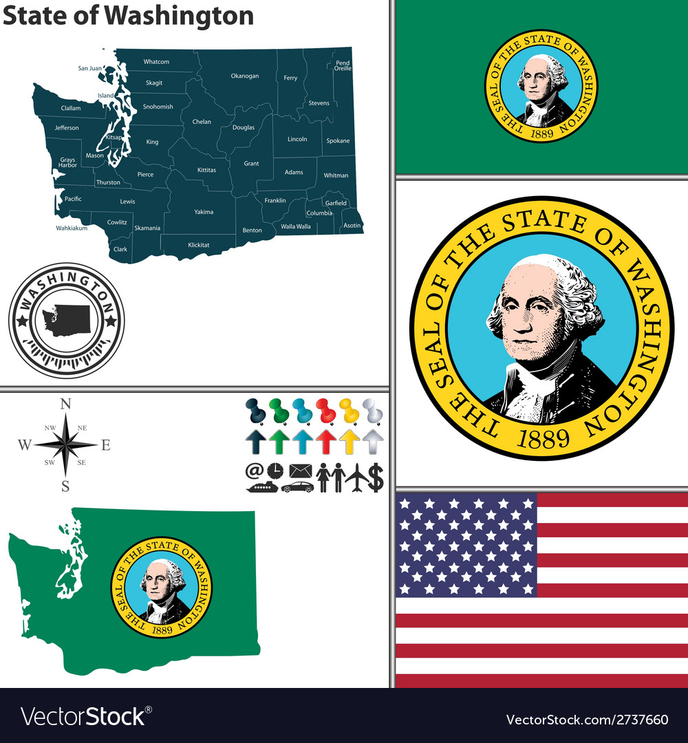 Map of washington with seal vector | Price: 1 Credit (USD $1)