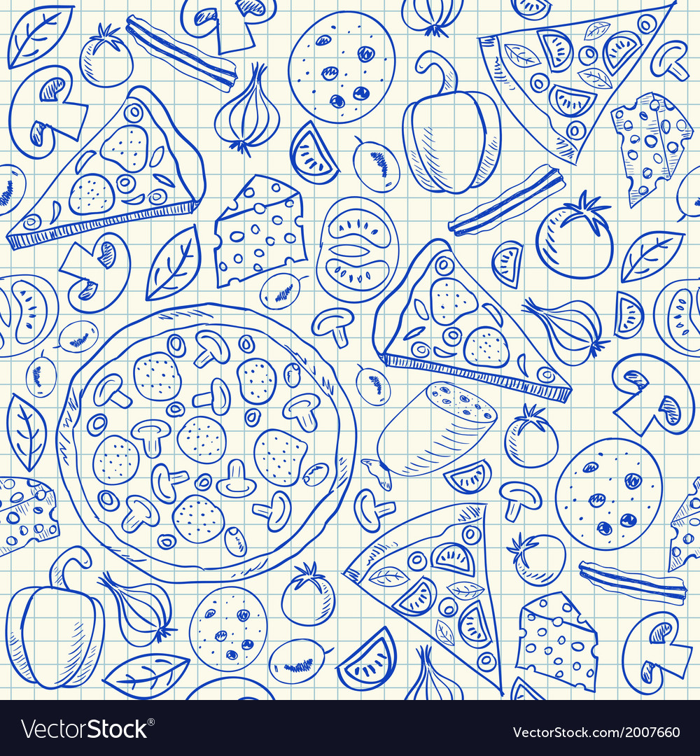 Pizza doodles seamless pattern vector | Price: 1 Credit (USD $1)