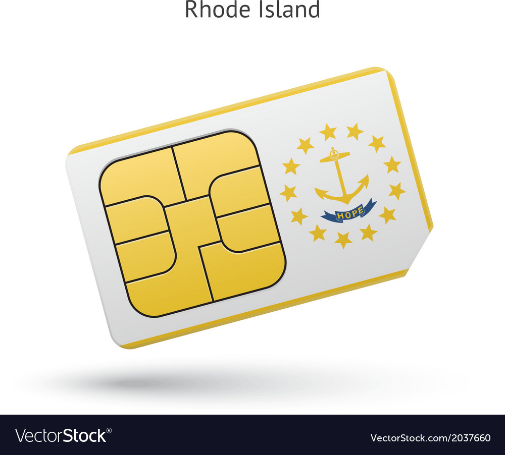 State of rhode island phone sim card with flag vector | Price: 1 Credit (USD $1)