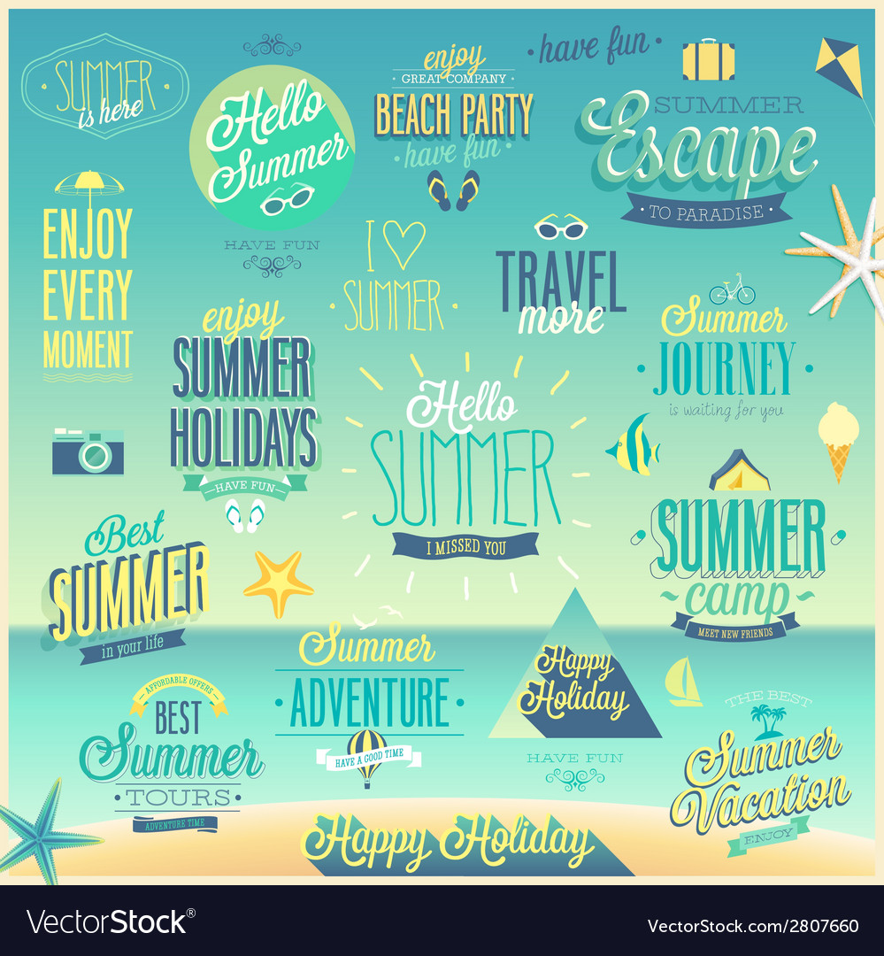 Summer sea emblems set vector | Price: 1 Credit (USD $1)