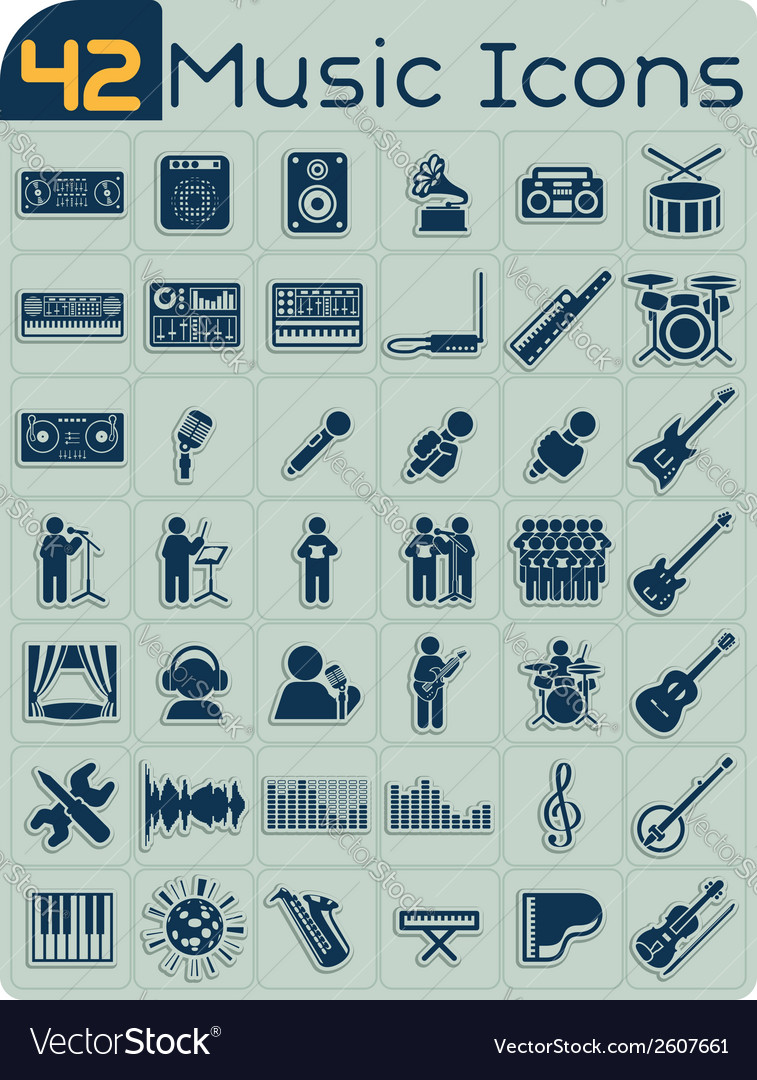 42 music icons set vector | Price: 1 Credit (USD $1)