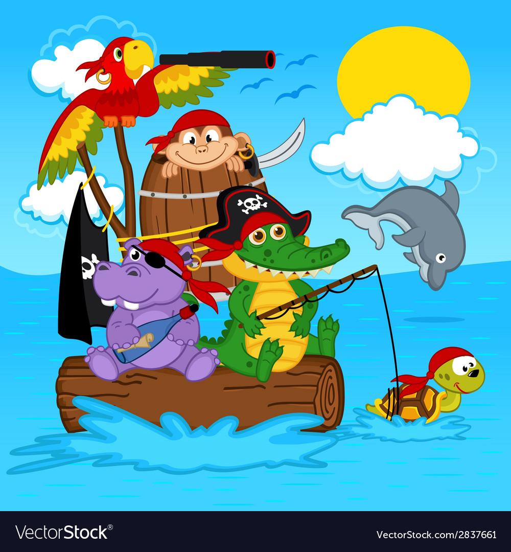 Animals pirates vector | Price: 1 Credit (USD $1)