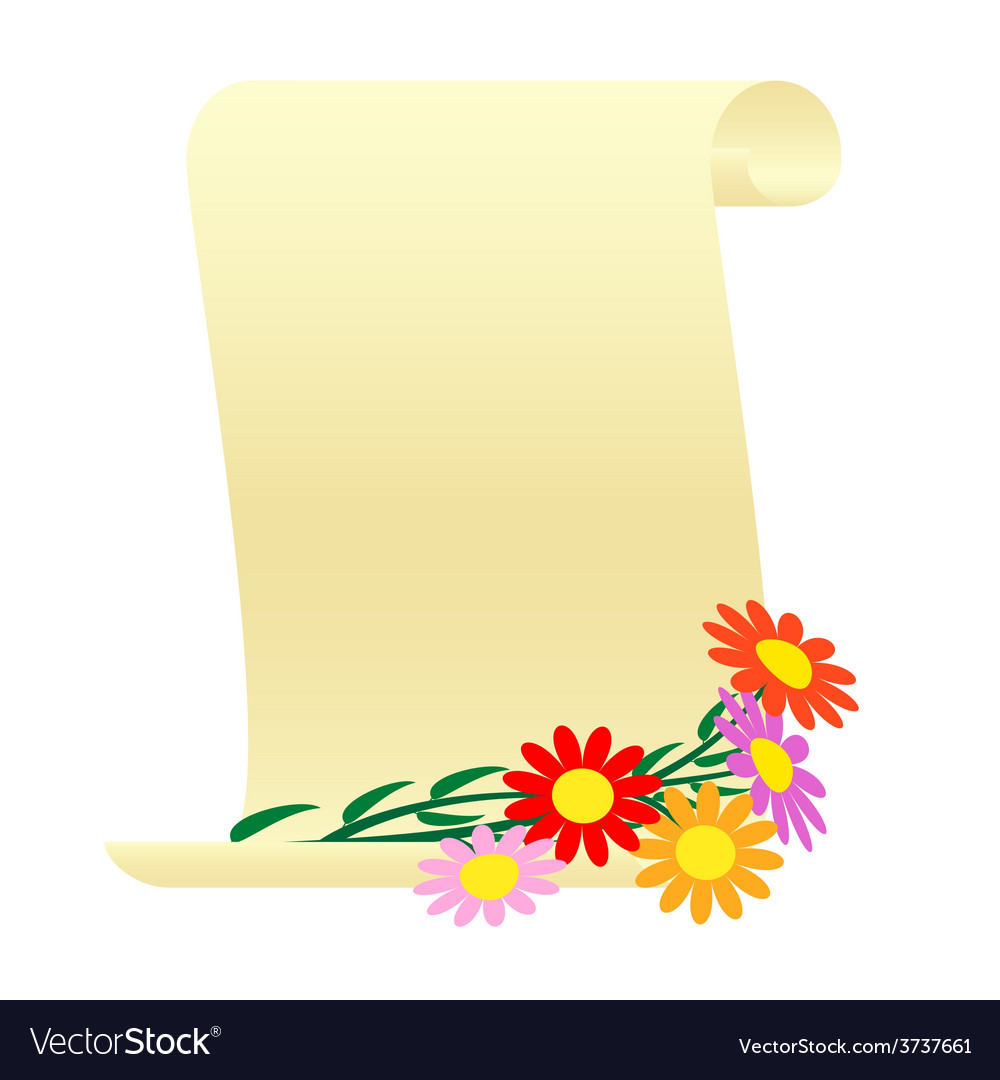 Bouquet of flowers and a scroll vector | Price: 1 Credit (USD $1)