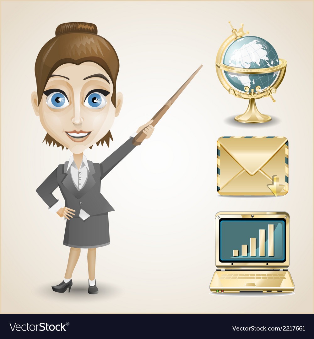 Businesswoman gold envelope globe and notebook vector | Price: 1 Credit (USD $1)