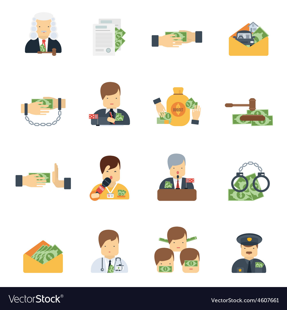 Corruption icons flat vector | Price: 1 Credit (USD $1)