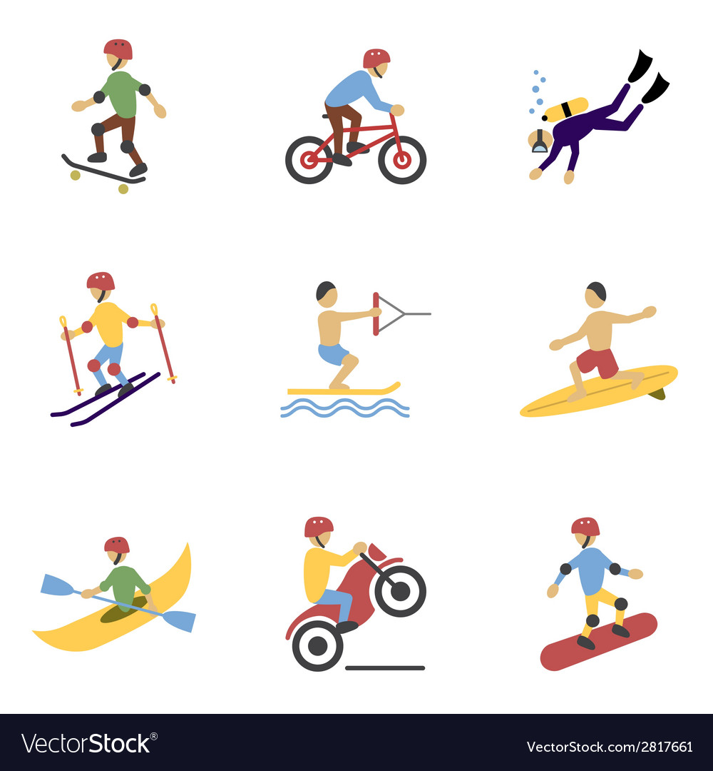 Extreme sports icons set vector | Price: 1 Credit (USD $1)