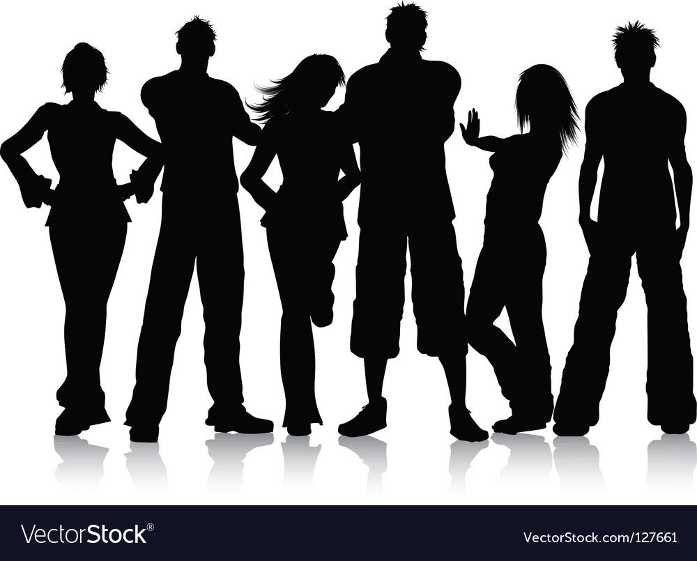 Group of young people vector | Price: 1 Credit (USD $1)