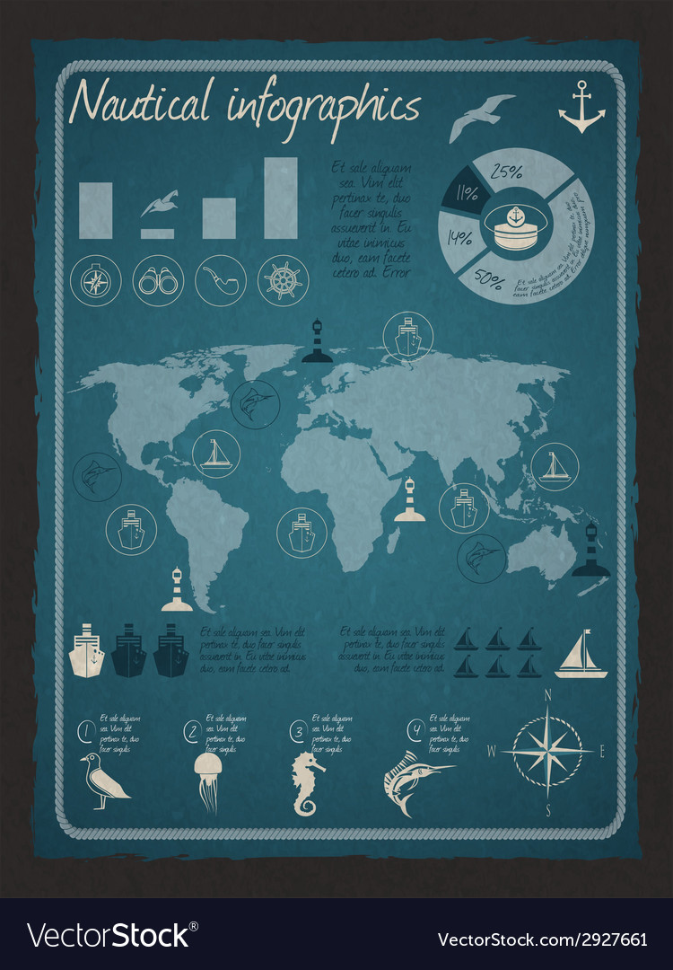 Nautical infographic set vector | Price: 1 Credit (USD $1)