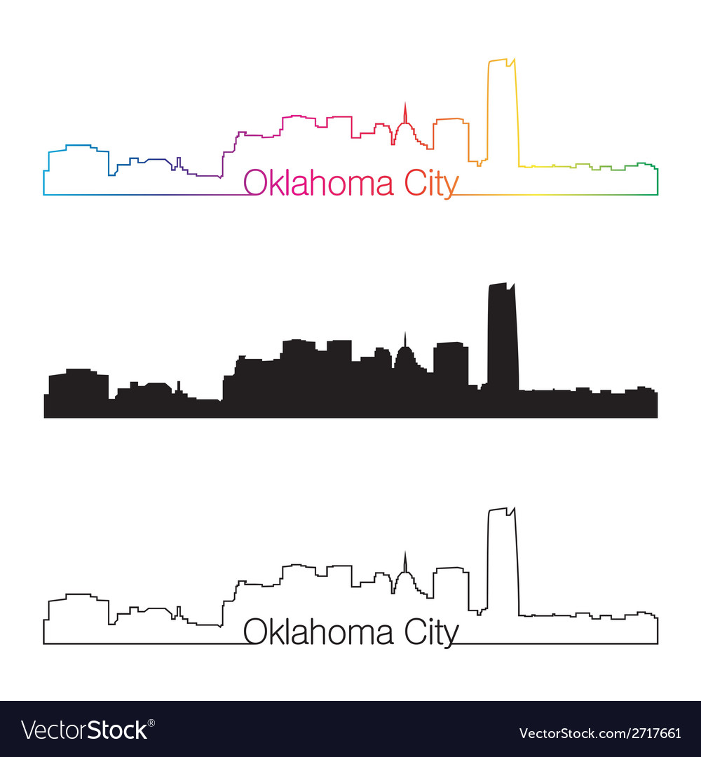 Oklahoma city skyline linear style with rainbow vector | Price: 1 Credit (USD $1)