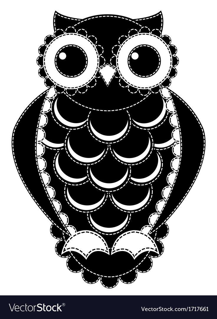 Silhouette patchwork owl vector | Price: 1 Credit (USD $1)