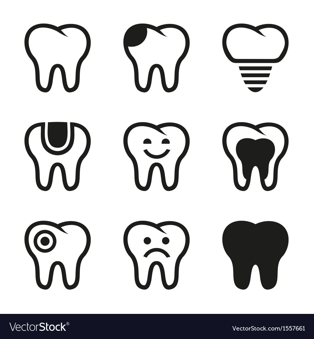 Tooth icons set vector | Price: 1 Credit (USD $1)