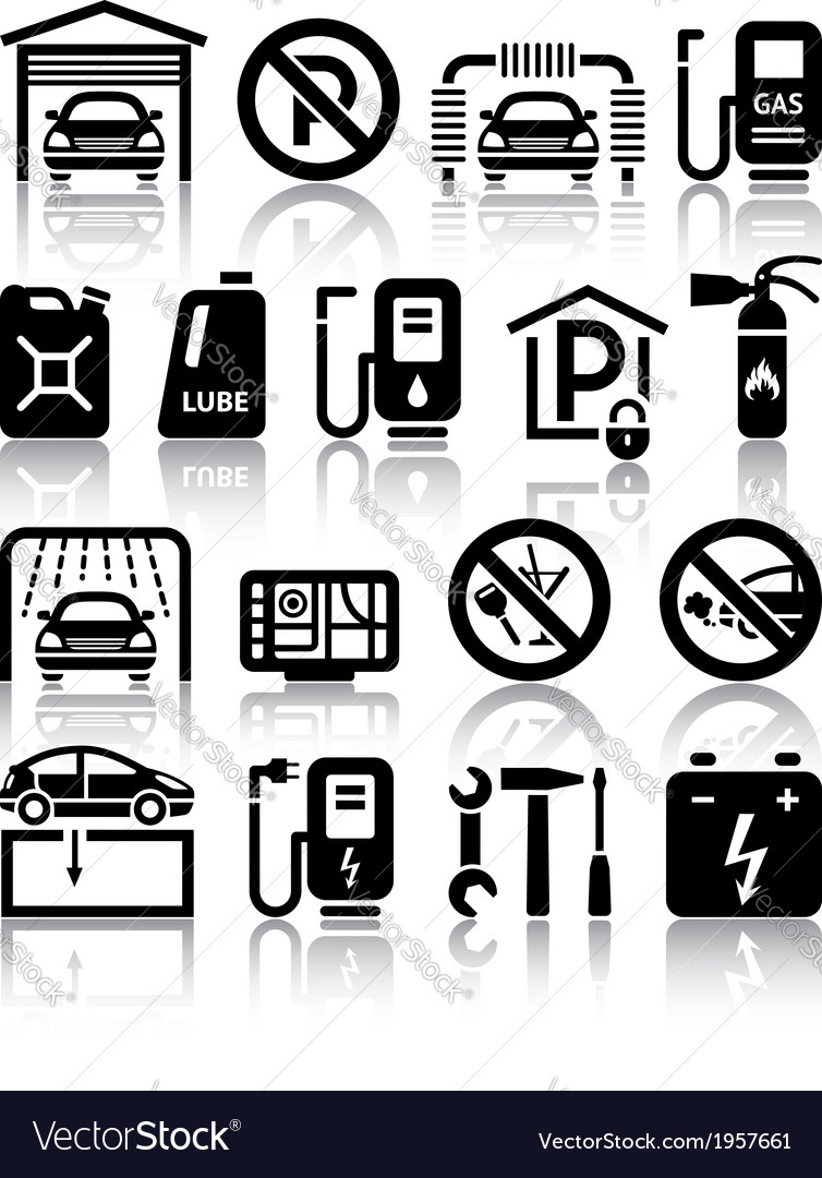 Transport service set of black icons vector | Price: 1 Credit (USD $1)
