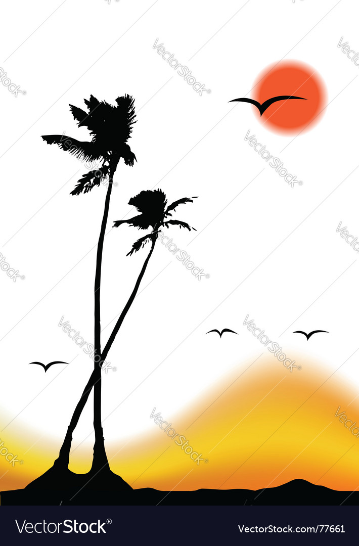 Tropical sunset palm tree silhouette vector | Price: 1 Credit (USD $1)
