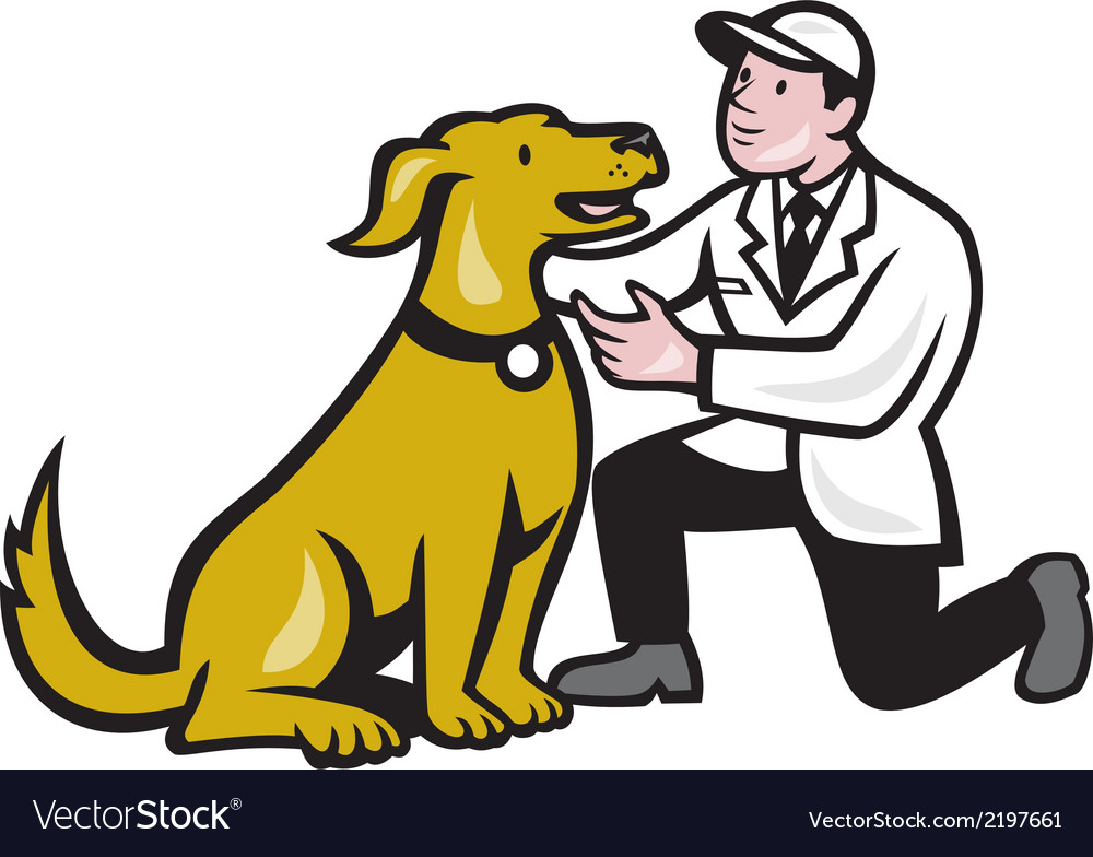 Veterinarian vet kneeling with pet dog cartoon vector | Price: 1 Credit (USD $1)