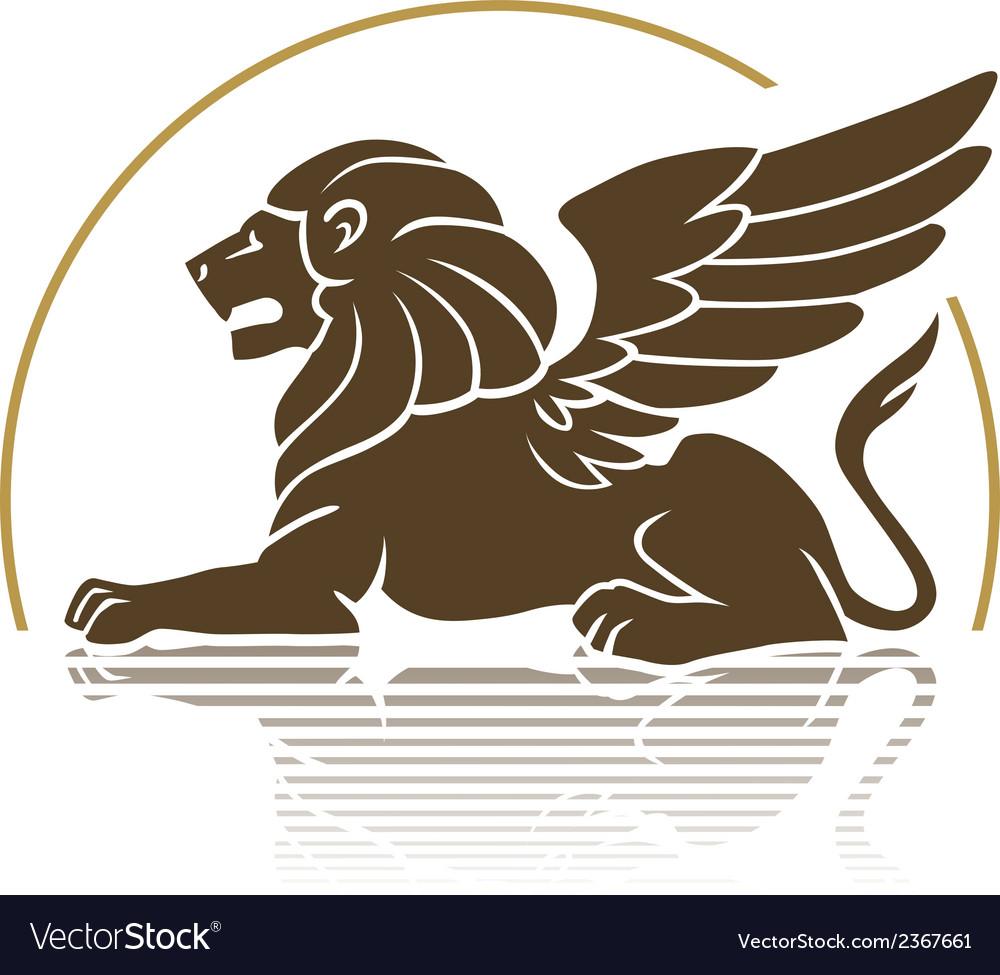 Winged lion emblem vector