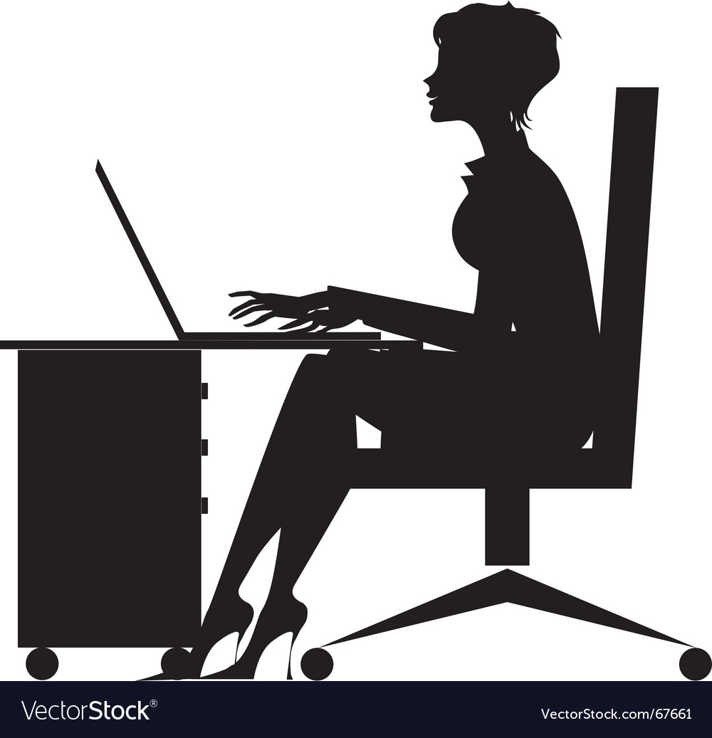Woman working at desk vector | Price: 1 Credit (USD $1)