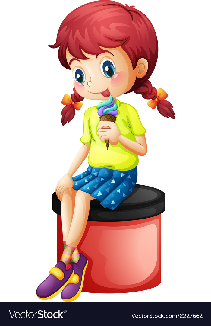 A cute little girl eating icecream vector | Price: 1 Credit (USD $1)