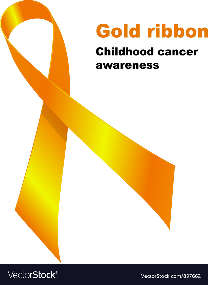 Gold ribbon childhood vector | Price: 1 Credit (USD $1)