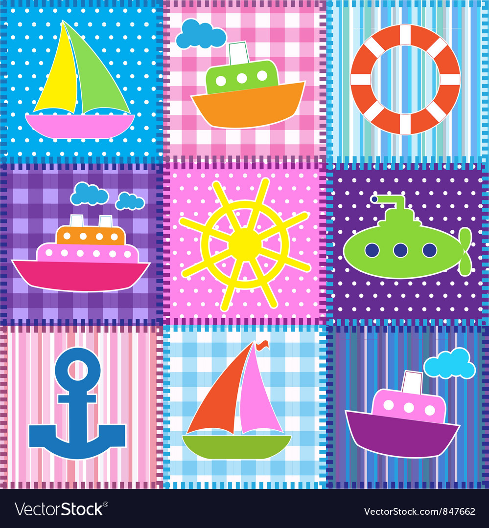 Patchwork in marine style vector | Price: 1 Credit (USD $1)