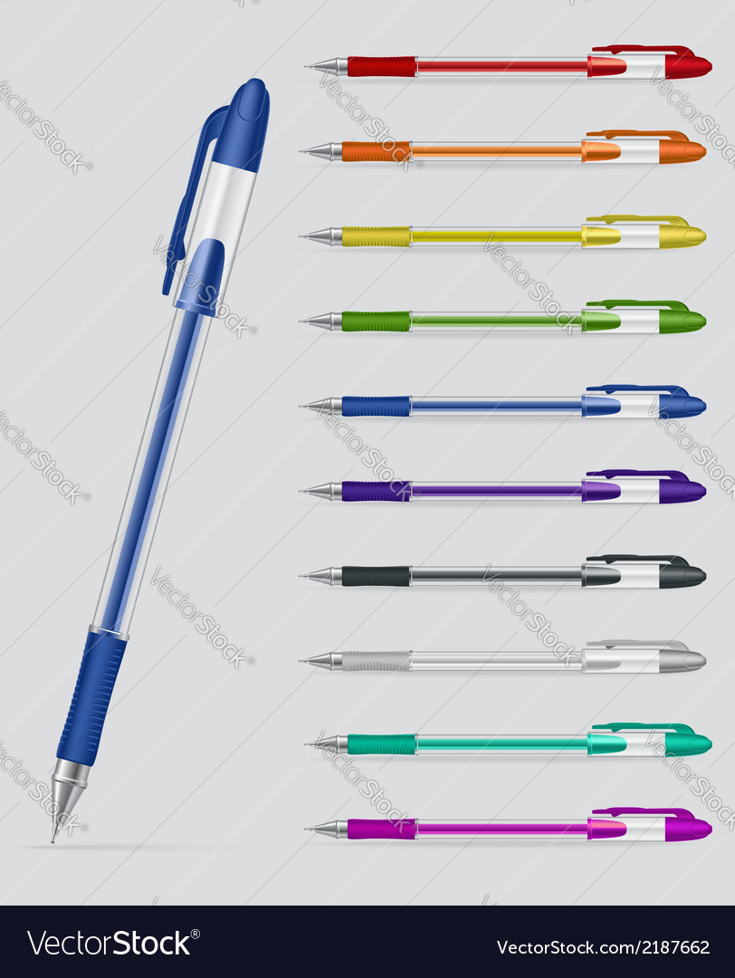Set of gel pens vector | Price: 1 Credit (USD $1)