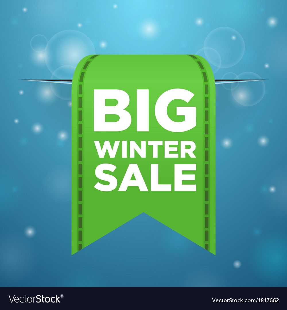 Winter sale big green ticket vector | Price: 1 Credit (USD $1)