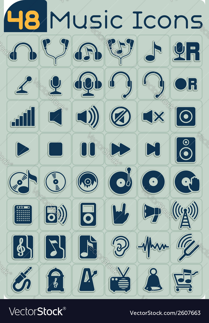 48 music icons set vector | Price: 1 Credit (USD $1)