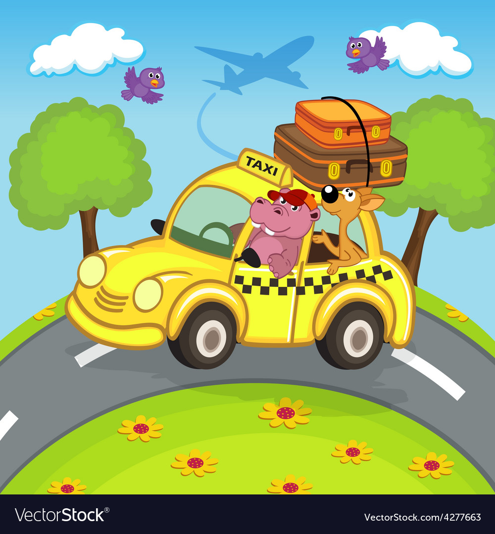 Animals traveling in taxi vector | Price: 3 Credit (USD $3)