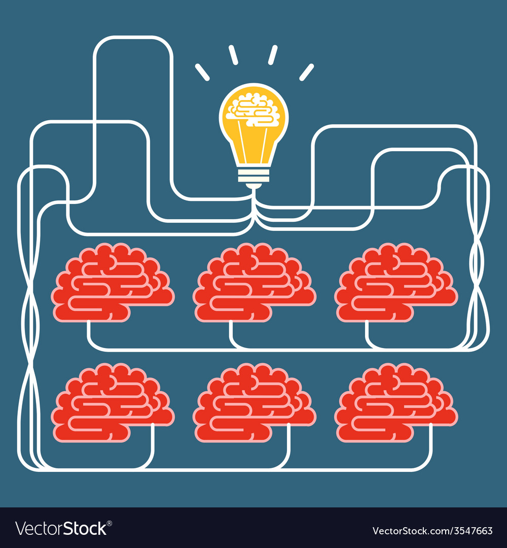 Brain and bulb light concept of idea vector | Price: 1 Credit (USD $1)