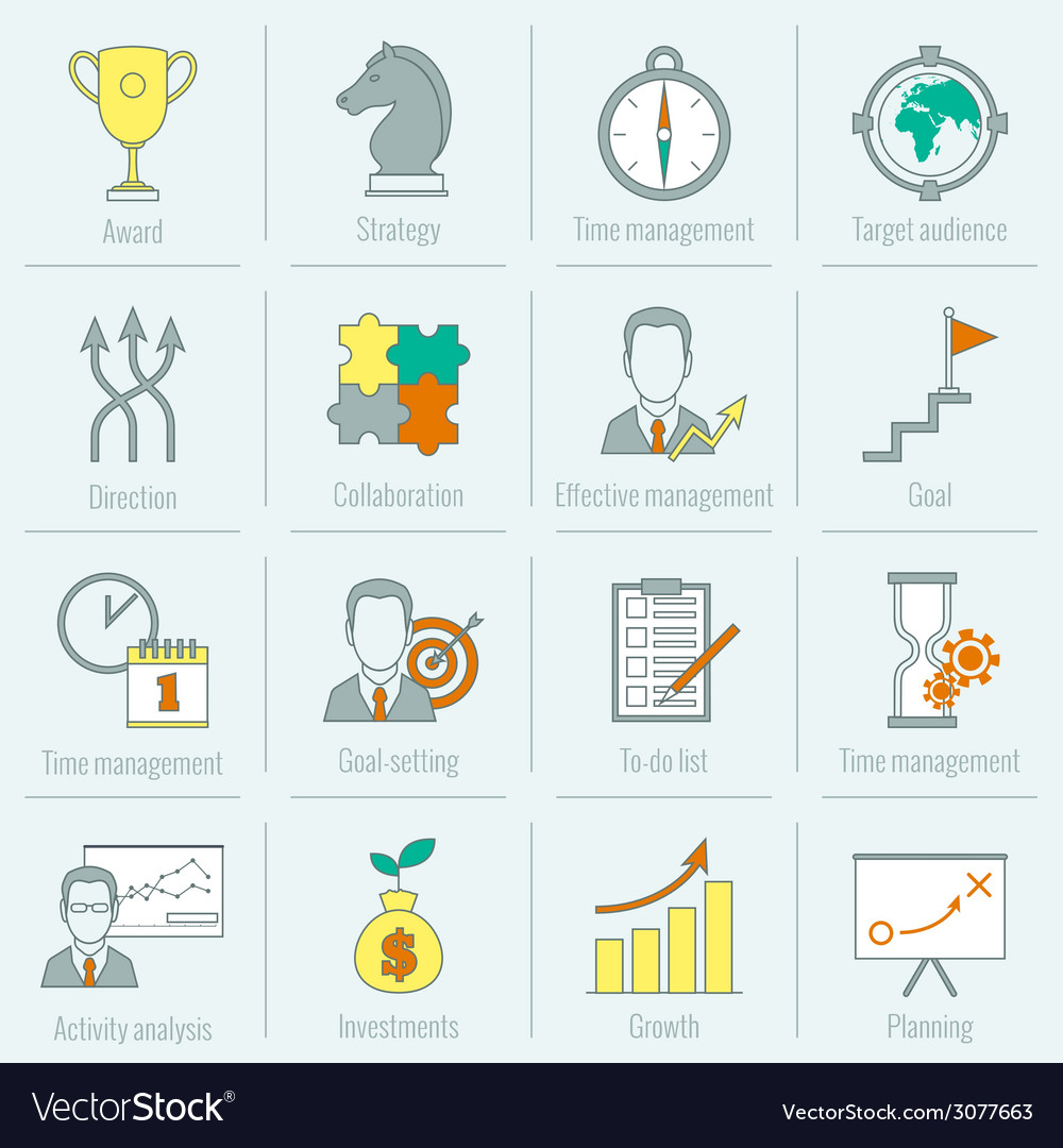 Business strategy planning icon flat line vector | Price: 1 Credit (USD $1)