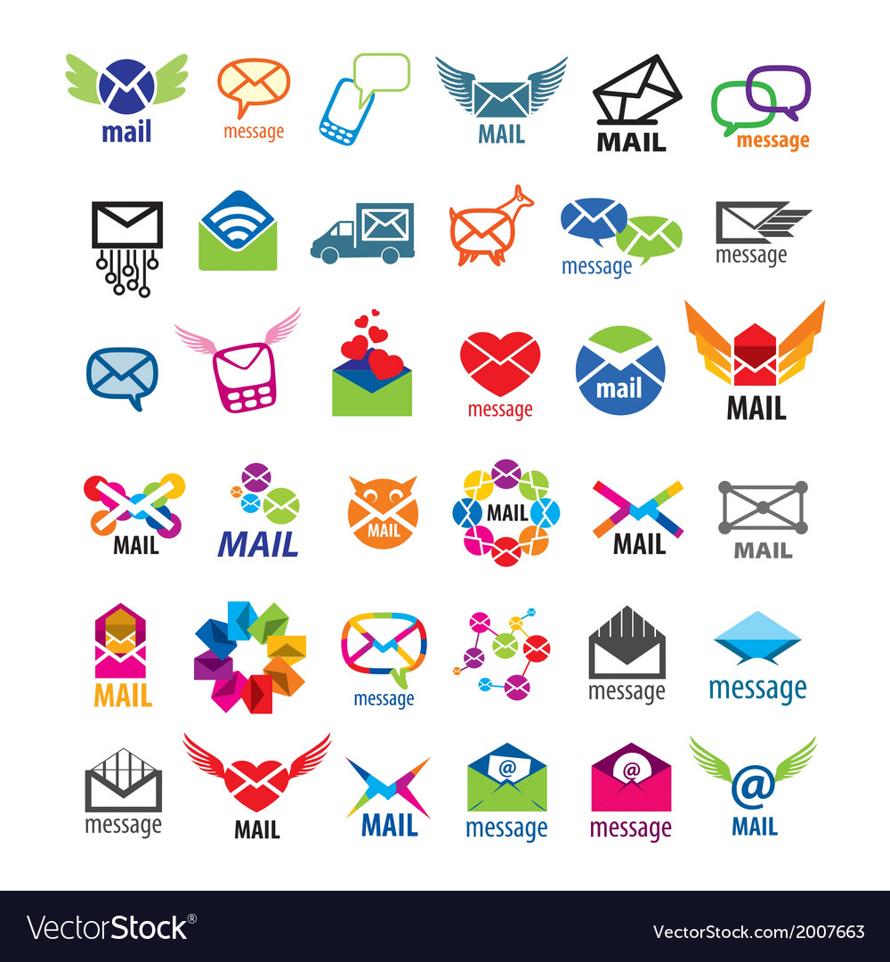 Collection of logos mail messages vector | Price: 1 Credit (USD $1)