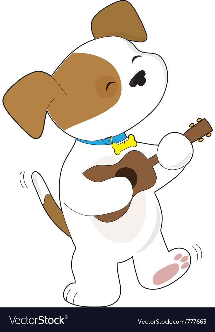 Cute puppy ukulele vector   Price: 1 Credit (USD $1)