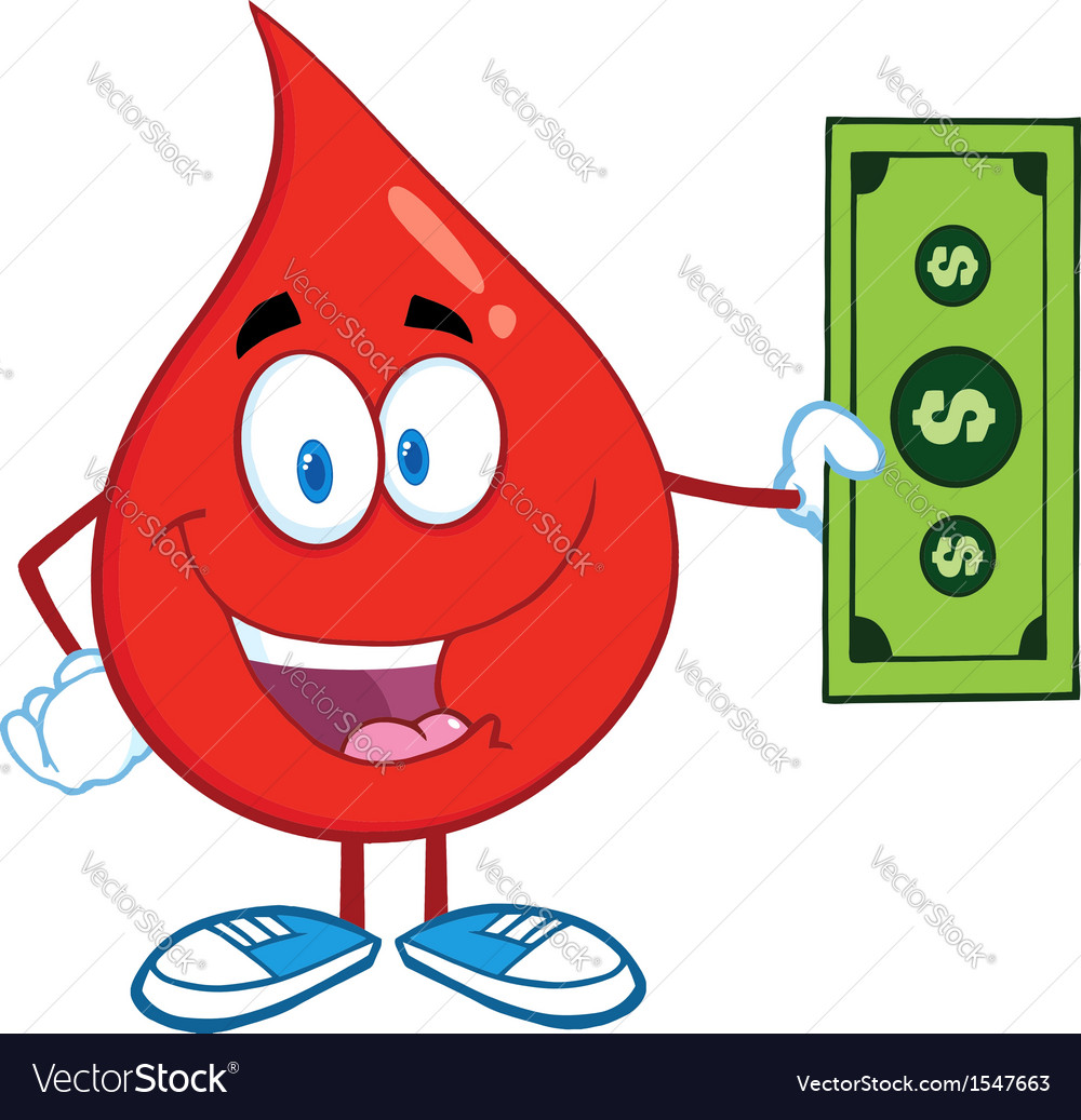 Drop of blood cartoon character vector | Price: 1 Credit (USD $1)